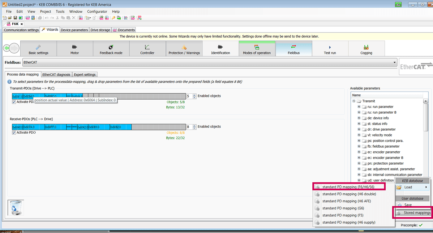 KEB COMBIVIS Programming software screenshot showing EtherCAT Communication Fieldbus function