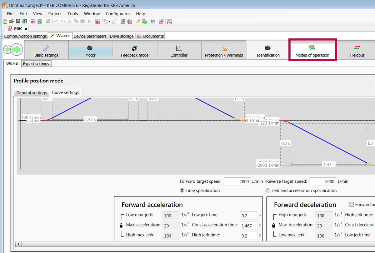 KEB COMBIVIS Programming software screenshot showing profile position modes