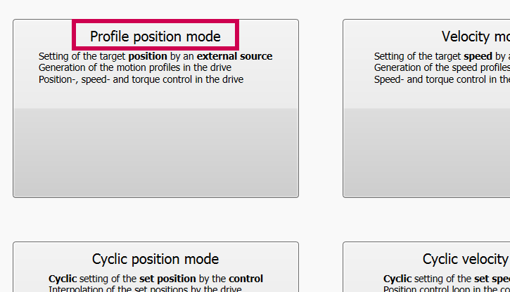 Select Profile Position mode in KEB Combivis Programming Software