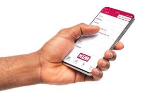 A hand holding a Mobile Phone with KEB Elevator App
